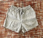 Khaki/Beige Paper Bag Mid-Rise Linen Shorts in Okinawa, Japan