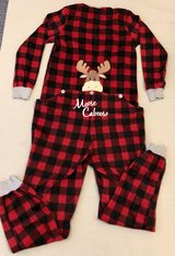 Red & Black Buffalo Plaid/Checkered Print Moose Fleece Onesie Pajama in Okinawa, Japan