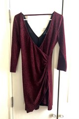 Burgundy/Wine V-neck Body-con Semi-Formal Cocktail Dress in Okinawa, Japan