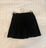 Black Faux Velvet Mid-Rise Skater Skirt in Okinawa, Japan