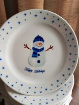 """Snowman Plates, 11"""", Never used in Yorkville, Illinois"""
