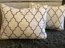 White & Gray Embroidered Quatrefoil Accent Pillow Set in Okinawa, Japan