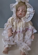 "Porcelain Doll Blonde Sugar Britches Signed 19 3/4"" Christening Doll Boots Tyner in Fort Campbell, Kentucky"
