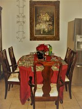 Queen Anne dining table with piece extension, 6 chairs. in San Antonio, Texas