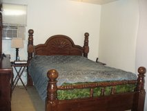 Hard wood bed, head board, foot board and frame Not mattress included) in San Antonio, Texas