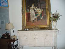 Large oil painting with mahogany wood hand carved frame. in San Antonio, Texas