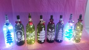 Large lighted Christmas wine bottles in Chicago, Illinois