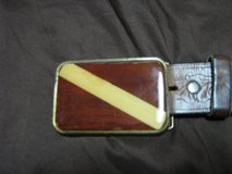 Belt with Wooden Dive Flag as buckle in Denton, Texas