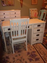 Desk & Chair. all Wood. 4 Drawers. Shabby chic in Conroe, Texas