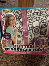 New glitter messenger bag art project in Glendale Heights, Illinois