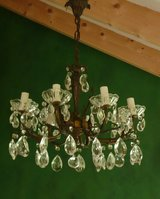 Italian Solid 8 Arm-8 Light Chandelier w/crystals, Vintage, in Vicenza, Italy