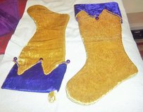 """Two new big  Christmas Stockings  9"""" x 24"""" - never used in Alamogordo, New Mexico"""
