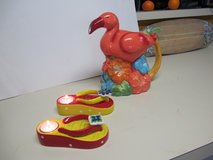 TROPICAL FLAMINGO PITCHER AND FLIP FLOP TEA LIGHT CANDLE HOLDERS in Cherry Point, North Carolina