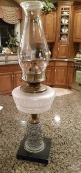 Oil Lamp - Antique - Cameo and Floral Design in Naperville, Illinois