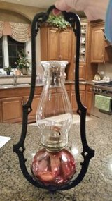 Oil Lamps, Hanger and Wall Hook - Red/Cranberry Glass in Naperville, Illinois