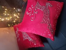 Emblished Reindeer Velour Throw Pillows in Elgin, Illinois
