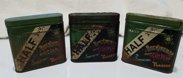 LOT OF 3 VINTAGE AMERICAN TOBACCO CO. LUCKY STRIKE BUCKINGHAM BRIGHT CUT PLUG TINS in DeKalb, Illinois