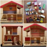 Cute wooden dollhouse - includes LOADS of furniture in Elgin, Illinois