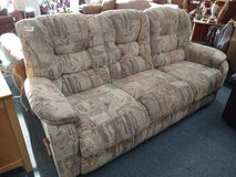 Tan with Muted Tone Pattern Reclining Sofa in Bartlett, Illinois