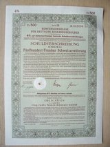 Old German Stock Certificate, GE Government Bond, and a Reichbanknote in Stuttgart, GE