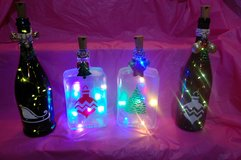 Lighted Christmas decorative bottles in Elgin, Illinois