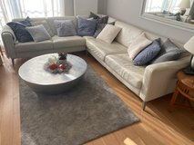 White Leather Sofa, L-shape, good condition in Wiesbaden, GE