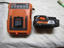 1 RIDGID BATTERY AND CHARGER in Camp Lejeune, North Carolina