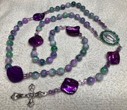 Catholic Rosary Purple Green Glass Beads Mother of Pearl Purple Pater Beads Our Lady of Guadalup... in Kingwood, Texas