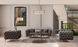 United Furniture - Mild'or Livingroom Set in Light and Dark Grey Velvet including delivery in Shape, Belgium