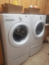 Fully functioing Whirlpool Duet Washer & Dryer, both with pedastel storage in Wheaton, Illinois