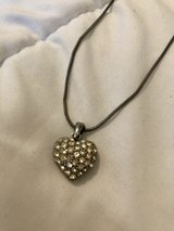 Silver Tone Rhinestone Heart Necklace in Okinawa, Japan