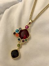 Sterling Silver Gold Tone Faux Gemstone Cluster Necklace in Okinawa, Japan