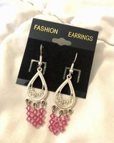 Silver tone & Pink Fashion Statement Earrings in Okinawa, Japan