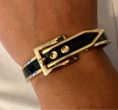 Black & Gold Tone Belt Bangle Bracelet in Okinawa, Japan