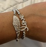 Silver Tone Rhinestone Angel Love Bracelet Set in Okinawa, Japan