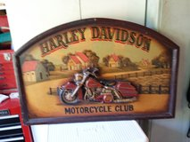 Wooden sign of Harley-Davidson in Cherry Point, North Carolina