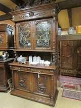 Antique cupboard buffet lead glass oak dining room kitchen cupboard in Baumholder, GE