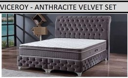 United Furniture - Viceroy Euro QS Bed now in Anthricit and Black Velvet with Mattress and Del in Wiesbaden, GE
