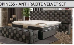 United Furniture - Opiness Euro QS Bed in Cream & Anthracite with Mattress & Delivery in Ansbach, Germany