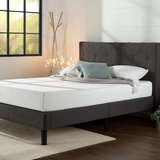 Zinus Upholstered King Size Gray Platform Bed - New! in Plainfield, Illinois