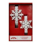 NEW Holiday Time White Snowflake Christmas Stocking Holders (Set of 2) in Plainfield, Illinois