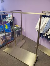 Commercial industrial L shaped clothing rack in Sandwich, Illinois