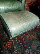 beautiful leather easy chair  and ottoman olive color in Camp Lejeune, North Carolina