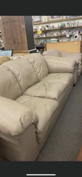 Leather Tan Couch and Chair in Fort Leonard Wood, Missouri