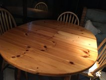 Pine sturdy extendable table and 4 chairs in Lakenheath, UK
