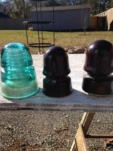 antique insulators - 1 glass, 2 porcelain in Kingwood, Texas