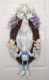 Easter Grapevine Wreath with Plush Rabbit, Eggs, Bow & Flowers in Camp Lejeune, North Carolina