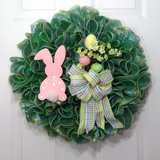 Easter Wreath Green Mesh with Pink & Blue Foil, Bunny & Eggs in Camp Lejeune, North Carolina