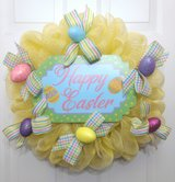 Easter Wreath in Yellow Mesh with Happy Easter Sign and Easter Eggs in Camp Lejeune, North Carolina
