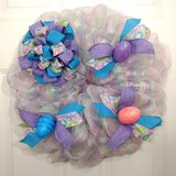 Easter Wreath in Pastel Pink, Lavender, Blue with Bow and Eggs in Camp Lejeune, North Carolina